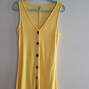 ONLY yellow button sleevless ribbed Maxi dress